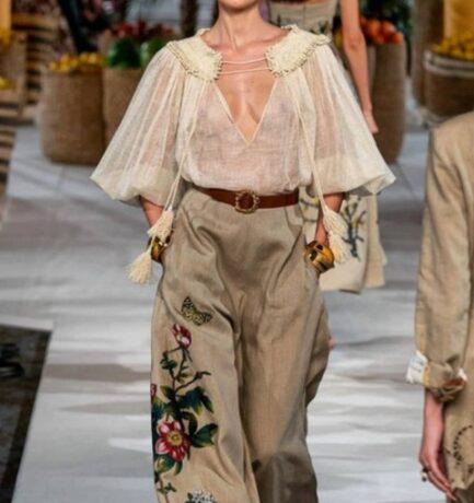 Sustainable linen and silk developed bespoke for Oscar de la Renta SS19